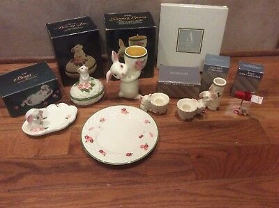 Lot Of Vintage Avon Bunny Trinket Box Candle Holders Plate Sunny Bunny Easter