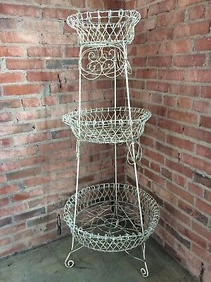 Victorian Twisted Wire Plant Stand - Metal White Late 19th Century - 3 Tier