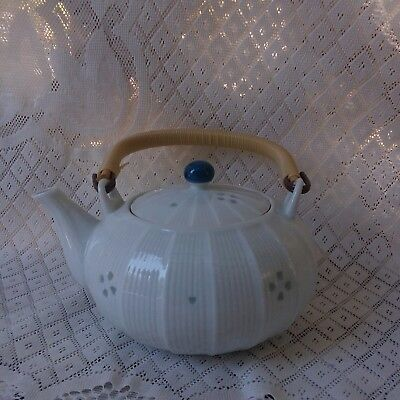 Vintage Japanese Blue and White Porcelain Mini Teapot Bamboo Handle Signed