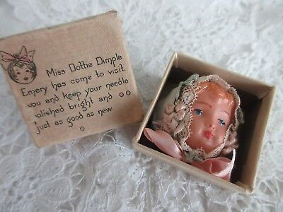 antique,vintage,sewing,DOTTIE DIMPLE,EMERY IN ORIGINAL BOX,VERY NICE FOR SURE