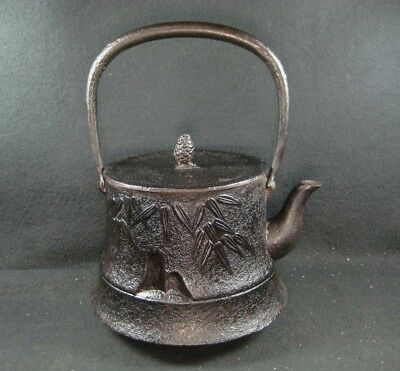 Antique  Taisho Era Signed Japanese Cast Iron Tea Pot Tetsu Bin Pine & Bamboo