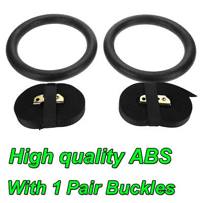Gymnastic Olympic Crossfit Gym Rings 2x Hoops Strength Workout Training Set