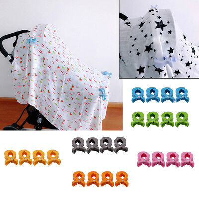 4x/Set Baby Pram Lamp Stroller Peg To Hook Cover Blanket Clips Car Seat Gadget