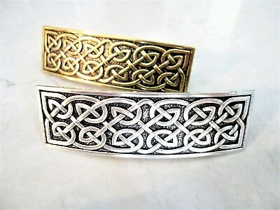 Silver or bronze gold celtic knot metal filigree hair clip barrette