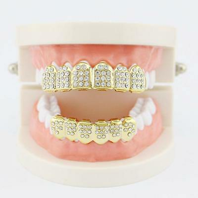Plated Iced Out Teeth Cap Grillz Top Bottom Bling Hip Hop Tooth Cap M