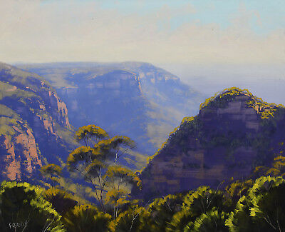 Large Landscape painting, Blue mountains, Australian art, Original by G. Gercken