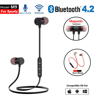 Bluetooth Headphones Wireless Earphones M9 Magnetic Suction Bass Earset Sports A