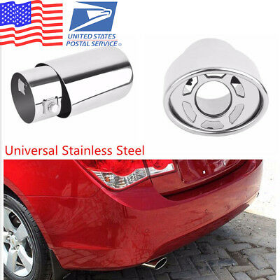 Car Stainless Steel Chrome Silver Round Tail Muffler Exhaust Pipe Tip (US Stock)