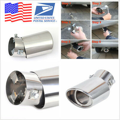 US Stock Universal Round Chrome Stainless Steel Car Exhaust Tail Muffler Pipe
