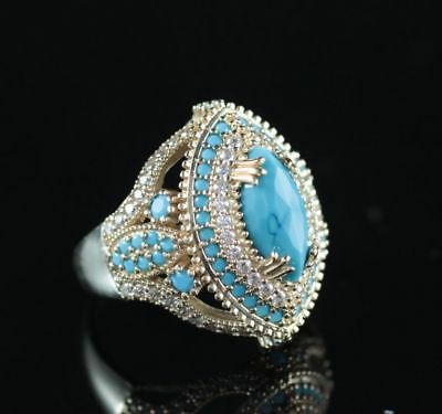 925 Sterling Silver Handmade Turkish Jewelry Turquoise Lady Ring