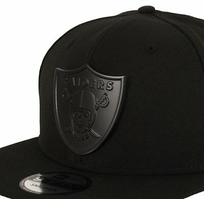 fa3560d4 Oakland Raiders Metal Shield Solid Black 9Fifty Snapback Cap Hat One Size  NFL