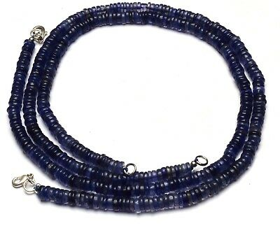 """Natural Gem Iolite Smooth 6MM Rondelle Heishi Beads Necklace 16"""" Water Sapphire"""