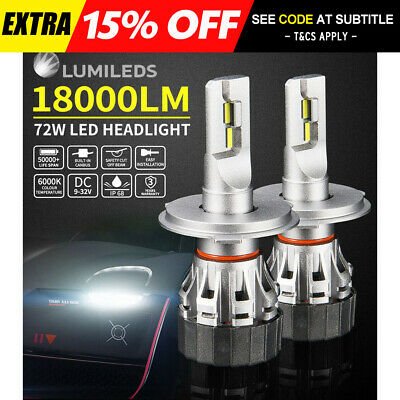 Pair H4 9003 72W 18000LM LED Headlight kit Lamp Bulbs Globes Hi-Lo Beam Upgrade