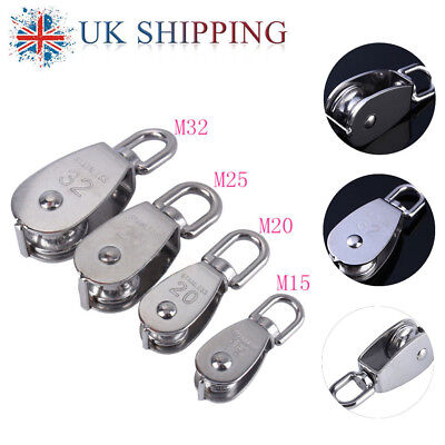 Stainless Steel Swivel Single Wheel Pulley Block Rigging Lifting Rope Lifter