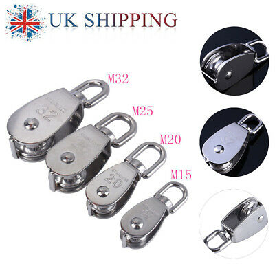 Steel Swivel Stainless Single Wheel Pulley Block Rigging Lifting Rope