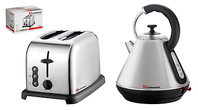 1.8L Cordless Electric Swivel Kettle & Two Slice Wide Slot Toaster Set Silver