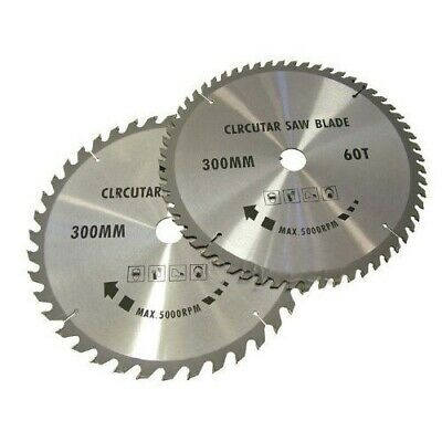 PACK OF 2 x 300mm TCT CIRCULAR SAW BLADES 40 & 60 TEETH + ADAPTER O RINGS CHOP