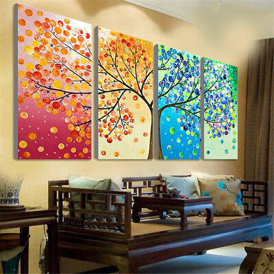4Pcs Colorful Four Season Tree Wall Canvas Painting Picture Print Home Art Decor