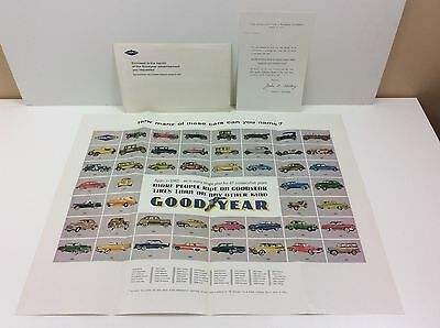 NOS Original 1962 Goodyear Tires Poster 47 Years of Cars w/ Envelope & Letter