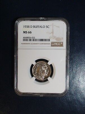 1938 D Buffalo Nickel Ngc Ms66 High Grade 5C Coin Priced To Sell Now!