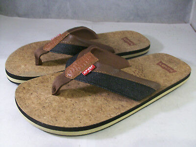 f6f31e1f53ee Levi s Men s Vista Flip Flop Sandals Brown Cork Leather 10 Medium  25 M