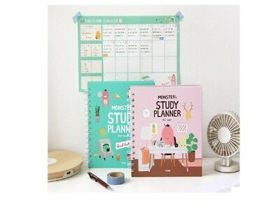 1EA Mint / Pink Indigo For 1 Year Monster's Study Planner semester diary Exam