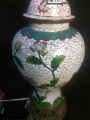 Old Vintage Antique Chinese China Cloisonne Vase Urn lamp Light Fixture Asian