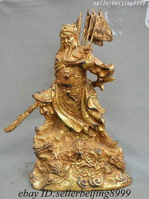 Ancient China Bronze Copper Gilt Dragon Robe Hold Knife Ares Guan Gong Yu Statue