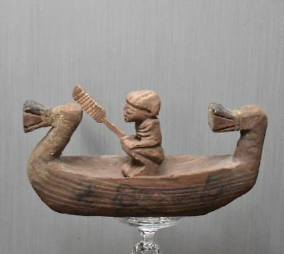 ANCIENT ANTIQUE Egyptian wood river boat (300-1500 BC))