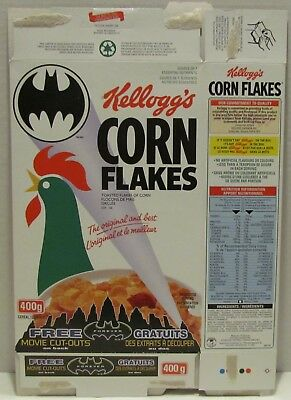 Canadian Kellogg's Corn Flakes Cereal Box with Batman Forever Movie Cutouts, '96
