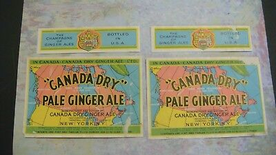 Lot 2 Bottle Label Neck Soda Canada Dry Pale Champagne Of Ginger Ale New York