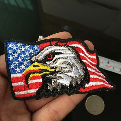 BALD EAGLE USA FLAG Patch iron on EMBROIDERED USA Applique Sewing Fabric DIY