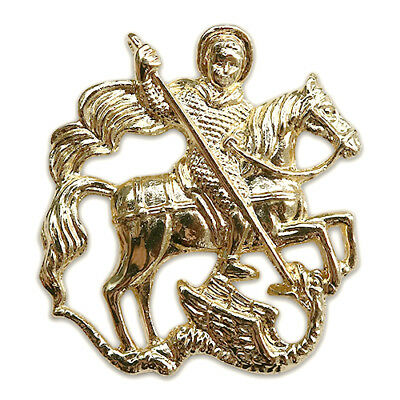 Saint George Slaying Dragon Christian Art Gold Premium Lapel Pin Gift Box Pouch
