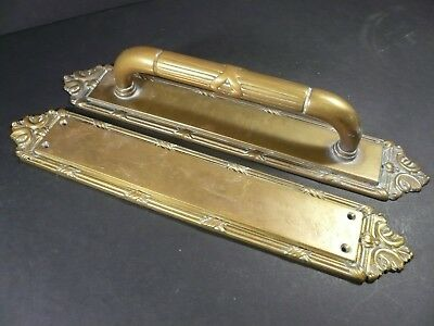 Period Brass Co. Reed & Ribbon Heavy Duty DOOR PULL HANDLE & PUSH PLATE W1556 #4