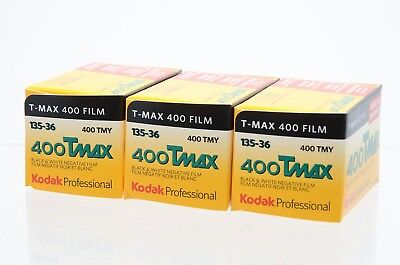 Kodak Professional T-MAX 400ASA 35mm Black and White Film 135-36 Exposure 3 pack