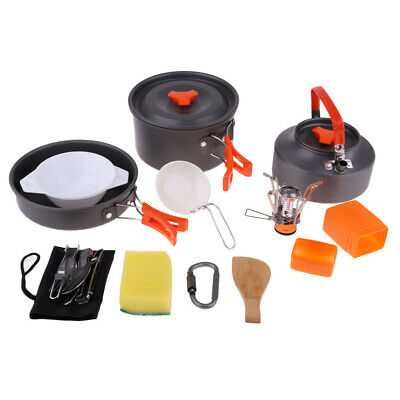 15 Unids Camping Cookware Mess Kit Backpacking Gear & Hiking Al Aire Libre