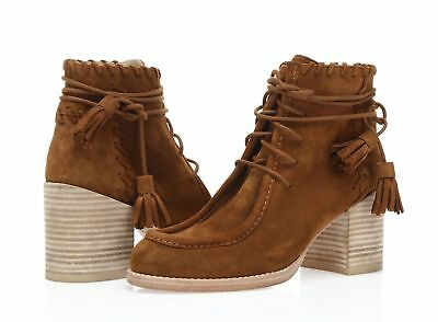 Stuart Weitzman Wallawalla Whipstitched Women's tan brown suede booties sz. 5 M