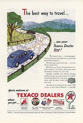 1946 Texaco Dealers Ad Oil Gas Vintage Travel Retro Road Trip Service Station