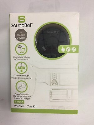 SoundBot SB360 Bluetooth 4.0 Car Kit Hands-Free Wireless Talk. Unused