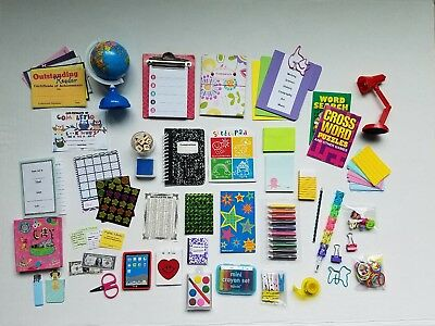 "40+ Assorted School, Desk & Backpack Supplies for American Girl & 18"" Dolls"