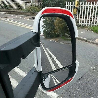 Motorhome Mirror Protectors / Guards with REFLECTORS Fiat Ducato Boxer Long Arm