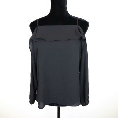 1b9dde01dd5fa9 NEW 1.STATE WOMEN S Off-the-Shoulder Sheer Chiffon Blouse Rich Black ...
