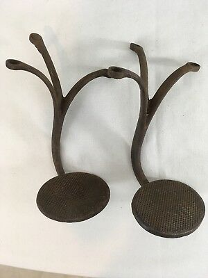 Antique Cast Iron Lot of Two 3 Leg Buggy Carriage Wagon Step