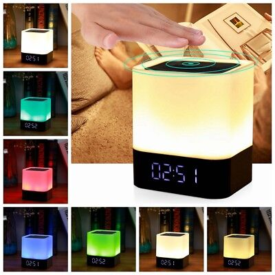 Portable Stereo Bluetooth Speaker Bedside Night Light Alarm Clock LED Dimmable