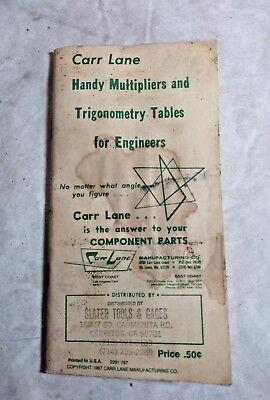 Vintage Carr Lane Handy Multipliers & Trigonometry Tables for Engineers Booklet