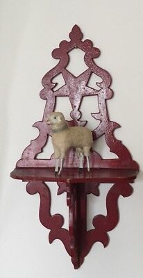 Antique Vintage Victorian Small Red Scroll  Wall Clock Curio Shelf Star Detail