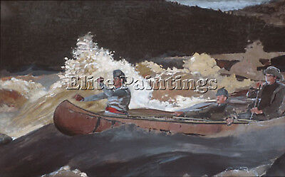Homer Winslow Shooting The Rapids Artist Painting Oil Canvas Repro Wall Art Deco