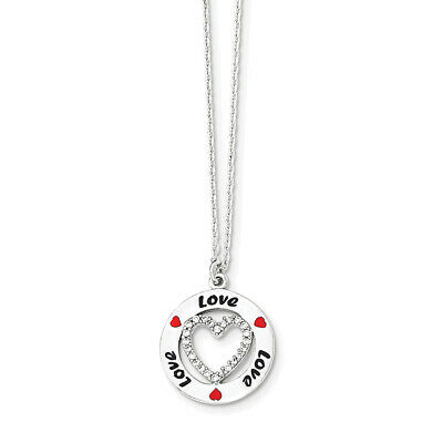 Sterling Silver Polished Enamel CZ Heart Love Necklace 18""