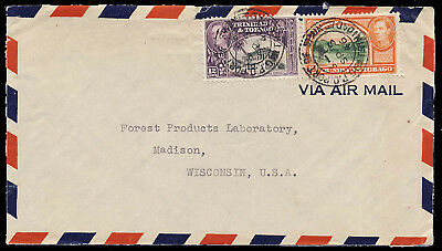 Trinidad & Tobago 1946 Commercial Airmail Cover  Port-of-Spain to WI USA #56-57
