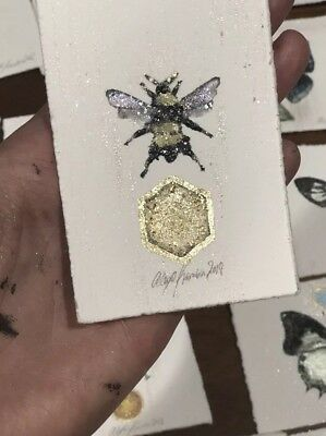 Original Watercolor Panting ACEO artist Card Small Art Glass Mica Gold Leaf Bee